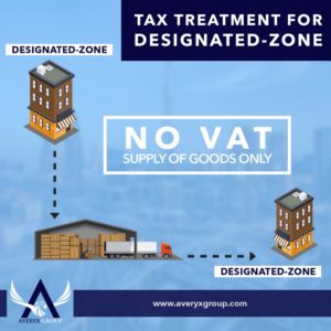 Company located in designated zone supplies goods to company inside the designated zone. No VAT is charged.